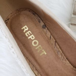 Report Shoes - Report White Eyelet Peep Toe Cork Wedges